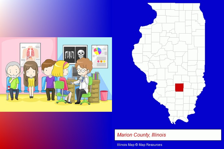 a clinic, showing a doctor and four patients; Marion County, Illinois highlighted in red on a map