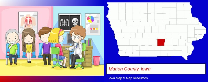 a clinic, showing a doctor and four patients; Marion County, Iowa highlighted in red on a map