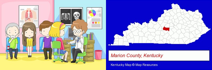 a clinic, showing a doctor and four patients; Marion County, Kentucky highlighted in red on a map