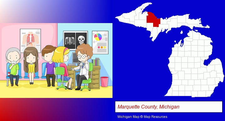 a clinic, showing a doctor and four patients; Marquette County, Michigan highlighted in red on a map