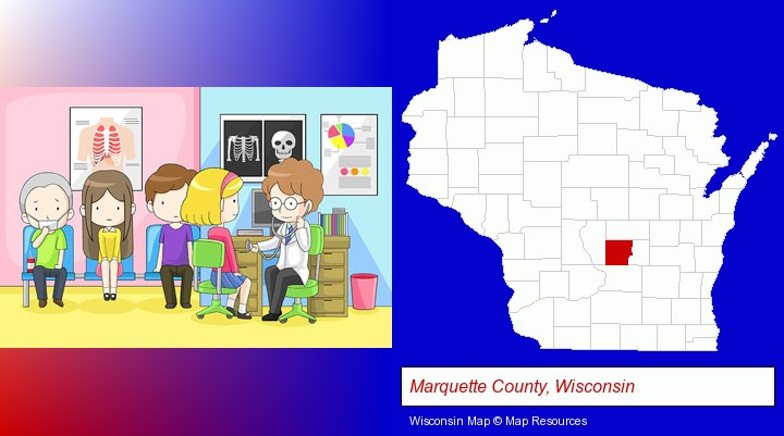 a clinic, showing a doctor and four patients; Marquette County, Wisconsin highlighted in red on a map