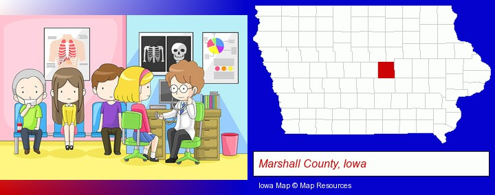 a clinic, showing a doctor and four patients; Marshall County, Iowa highlighted in red on a map
