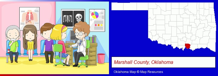 a clinic, showing a doctor and four patients; Marshall County, Oklahoma highlighted in red on a map