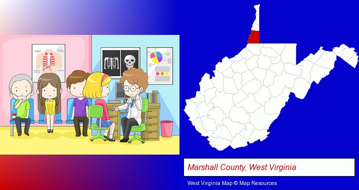 a clinic, showing a doctor and four patients; Marshall County, West Virginia highlighted in red on a map