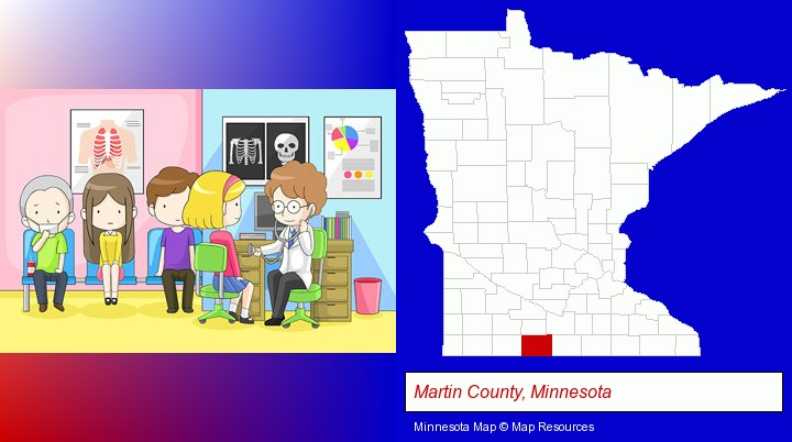 a clinic, showing a doctor and four patients; Martin County, Minnesota highlighted in red on a map