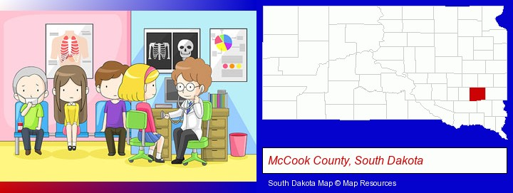 a clinic, showing a doctor and four patients; McCook County, South Dakota highlighted in red on a map