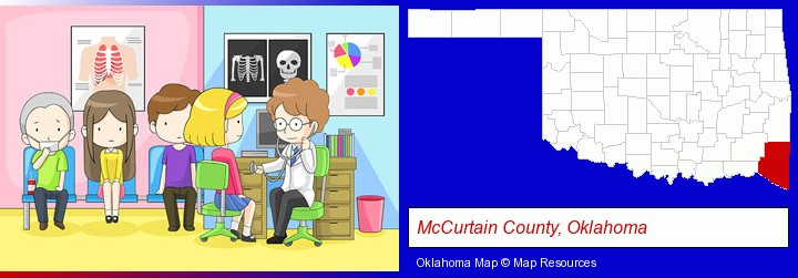 a clinic, showing a doctor and four patients; McCurtain County, Oklahoma highlighted in red on a map