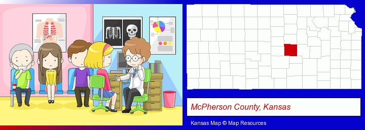 a clinic, showing a doctor and four patients; McPherson County, Kansas highlighted in red on a map