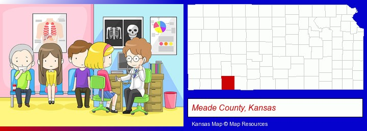 a clinic, showing a doctor and four patients; Meade County, Kansas highlighted in red on a map
