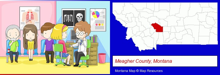a clinic, showing a doctor and four patients; Meagher County, Montana highlighted in red on a map