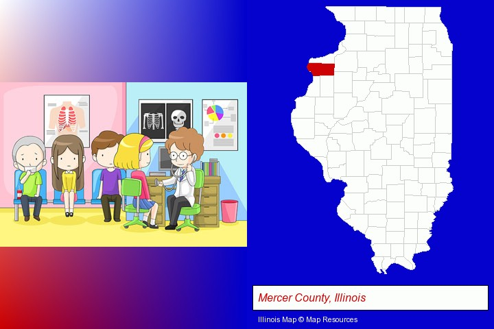 a clinic, showing a doctor and four patients; Mercer County, Illinois highlighted in red on a map