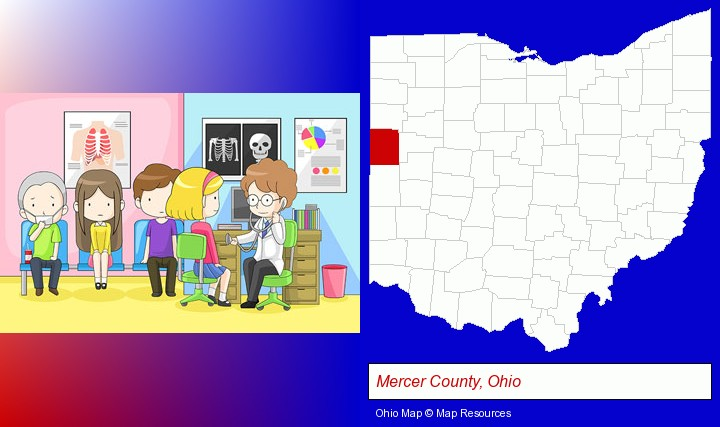 a clinic, showing a doctor and four patients; Mercer County, Ohio highlighted in red on a map