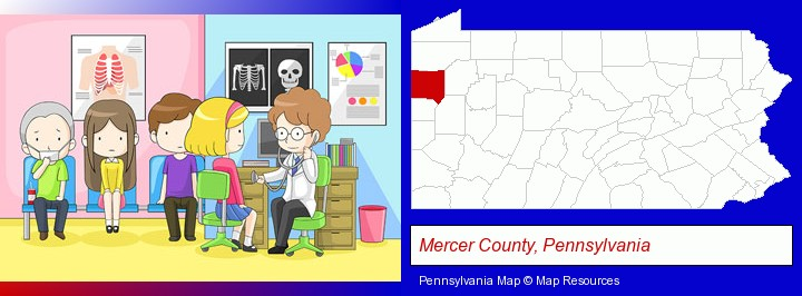 a clinic, showing a doctor and four patients; Mercer County, Pennsylvania highlighted in red on a map