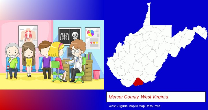 a clinic, showing a doctor and four patients; Mercer County, West Virginia highlighted in red on a map