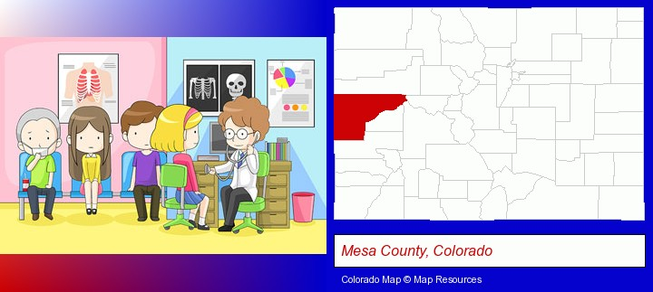 a clinic, showing a doctor and four patients; Mesa County, Colorado highlighted in red on a map