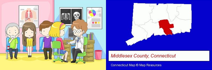 a clinic, showing a doctor and four patients; Middlesex County, Connecticut highlighted in red on a map