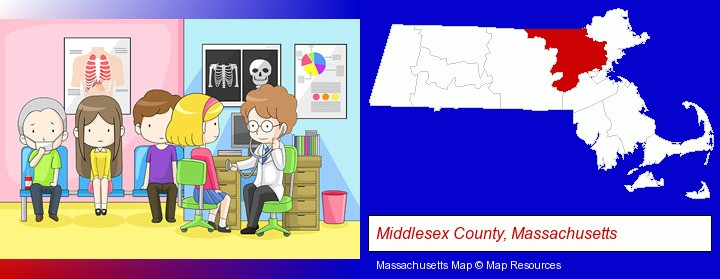 a clinic, showing a doctor and four patients; Middlesex County, Massachusetts highlighted in red on a map