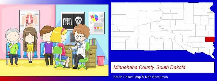 a clinic, showing a doctor and four patients; Minnehaha County, South Dakota highlighted in red on a map