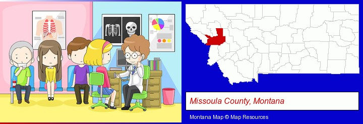 a clinic, showing a doctor and four patients; Missoula County, Montana highlighted in red on a map