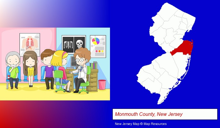 a clinic, showing a doctor and four patients; Monmouth County, New Jersey highlighted in red on a map