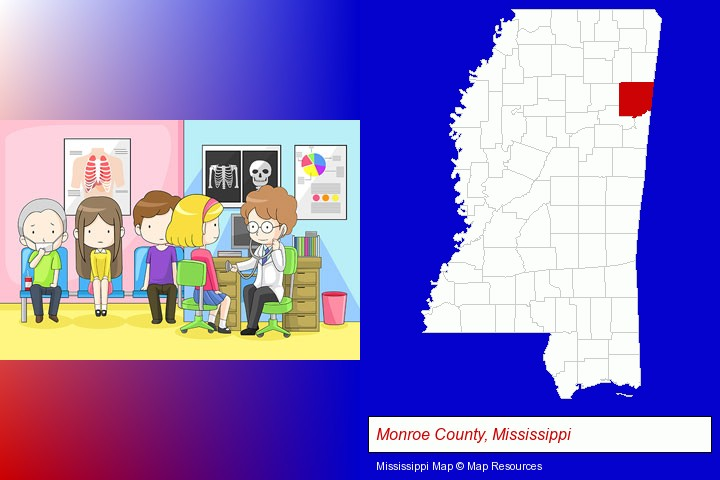 a clinic, showing a doctor and four patients; Monroe County, Mississippi highlighted in red on a map
