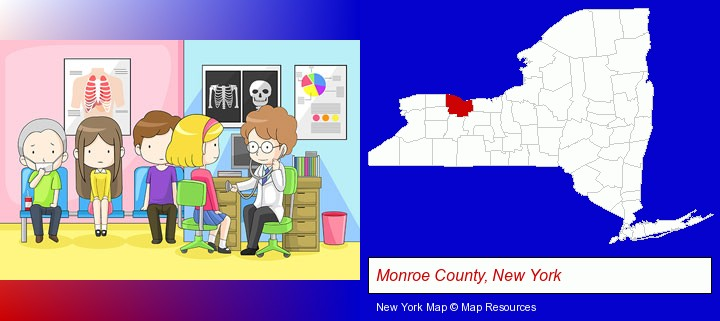 a clinic, showing a doctor and four patients; Monroe County, New York highlighted in red on a map