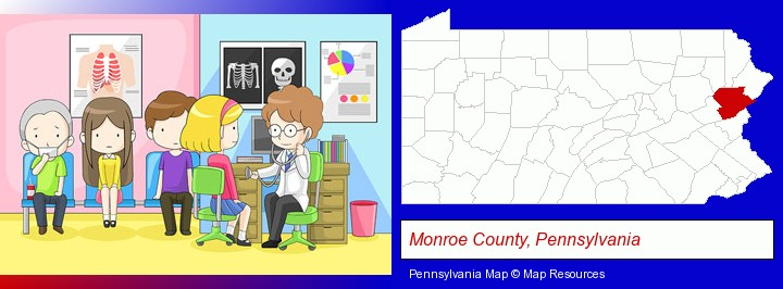 a clinic, showing a doctor and four patients; Monroe County, Pennsylvania highlighted in red on a map