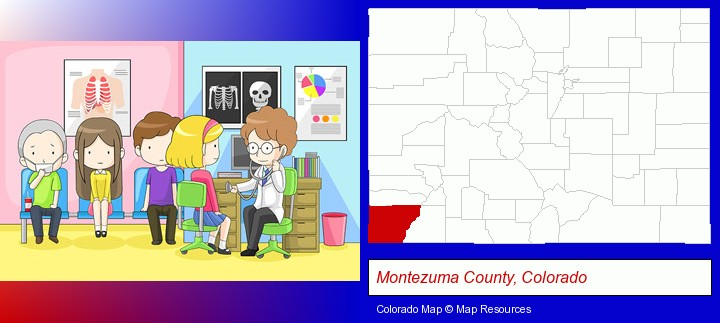 a clinic, showing a doctor and four patients; Montezuma County, Colorado highlighted in red on a map