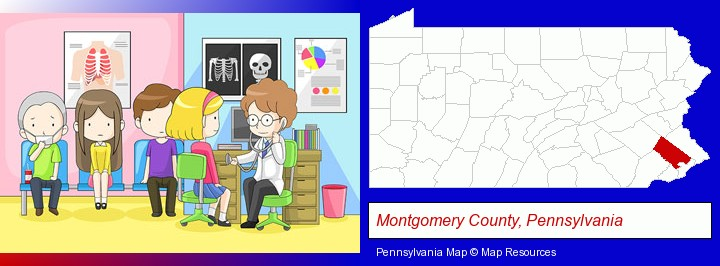 a clinic, showing a doctor and four patients; Montgomery County, Pennsylvania highlighted in red on a map