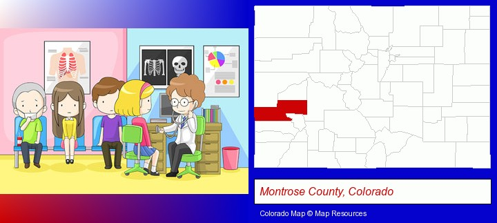 a clinic, showing a doctor and four patients; Montrose County, Colorado highlighted in red on a map