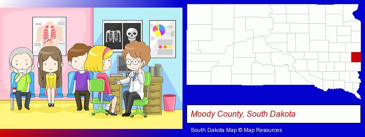 a clinic, showing a doctor and four patients; Moody County, South Dakota highlighted in red on a map
