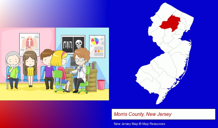 a clinic, showing a doctor and four patients; Morris County, New Jersey highlighted in red on a map