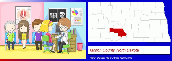a clinic, showing a doctor and four patients; Morton County, North Dakota highlighted in red on a map