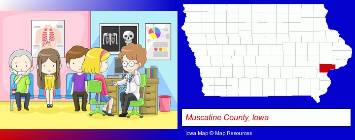 a clinic, showing a doctor and four patients; Muscatine County, Iowa highlighted in red on a map