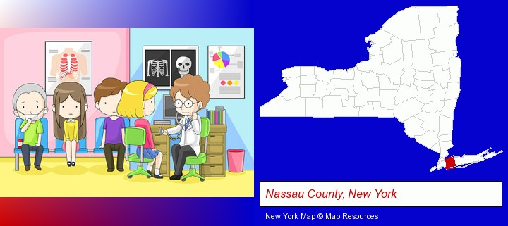 a clinic, showing a doctor and four patients; Nassau County, New York highlighted in red on a map
