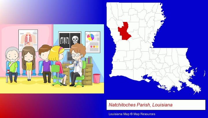a clinic, showing a doctor and four patients; Natchitoches Parish, Louisiana highlighted in red on a map