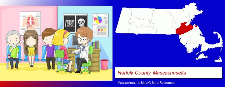 a clinic, showing a doctor and four patients; Norfolk County, Massachusetts highlighted in red on a map