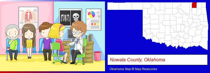 a clinic, showing a doctor and four patients; Nowata County, Oklahoma highlighted in red on a map