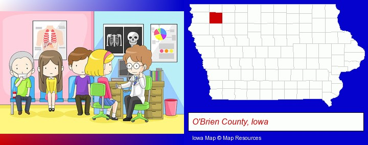 a clinic, showing a doctor and four patients; O'Brien County, Iowa highlighted in red on a map