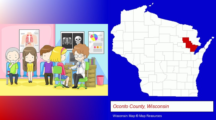 a clinic, showing a doctor and four patients; Oconto County, Wisconsin highlighted in red on a map