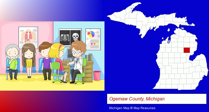 a clinic, showing a doctor and four patients; Ogemaw County, Michigan highlighted in red on a map