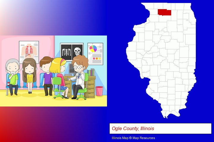 a clinic, showing a doctor and four patients; Ogle County, Illinois highlighted in red on a map