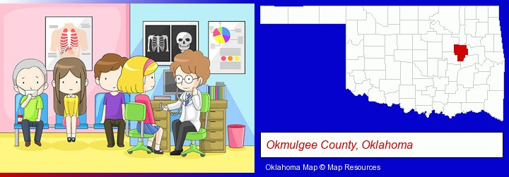 a clinic, showing a doctor and four patients; Okmulgee County, Oklahoma highlighted in red on a map