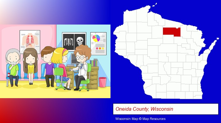 a clinic, showing a doctor and four patients; Oneida County, Wisconsin highlighted in red on a map