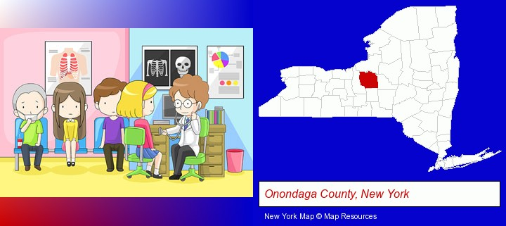 a clinic, showing a doctor and four patients; Onondaga County, New York highlighted in red on a map