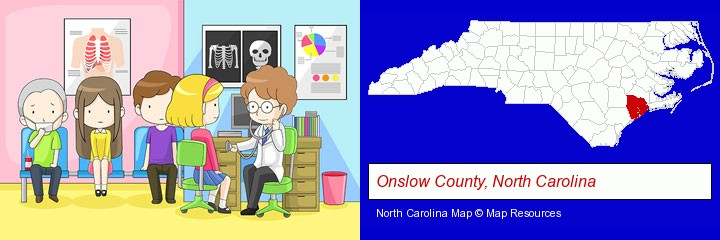a clinic, showing a doctor and four patients; Onslow County, North Carolina highlighted in red on a map