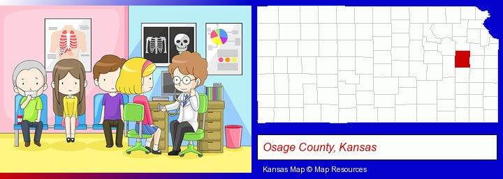 a clinic, showing a doctor and four patients; Osage County, Kansas highlighted in red on a map