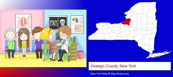 a clinic, showing a doctor and four patients; Oswego County, New York highlighted in red on a map