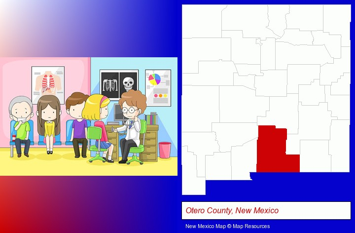 a clinic, showing a doctor and four patients; Otero County, New Mexico highlighted in red on a map