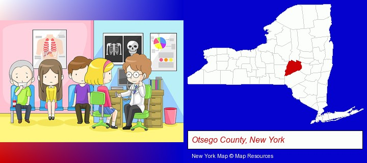a clinic, showing a doctor and four patients; Otsego County, New York highlighted in red on a map